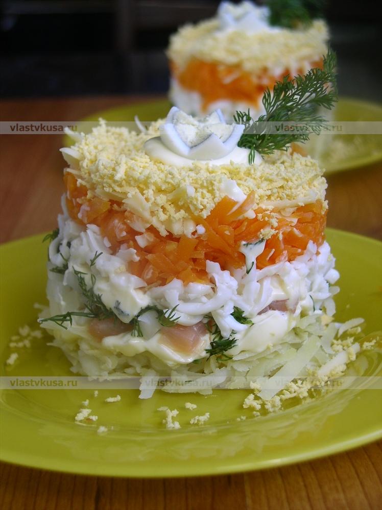 мимоза с красной рыбой рецепт с фото