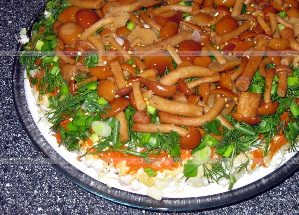 салат лесная поляна с опятами рецепт с фото