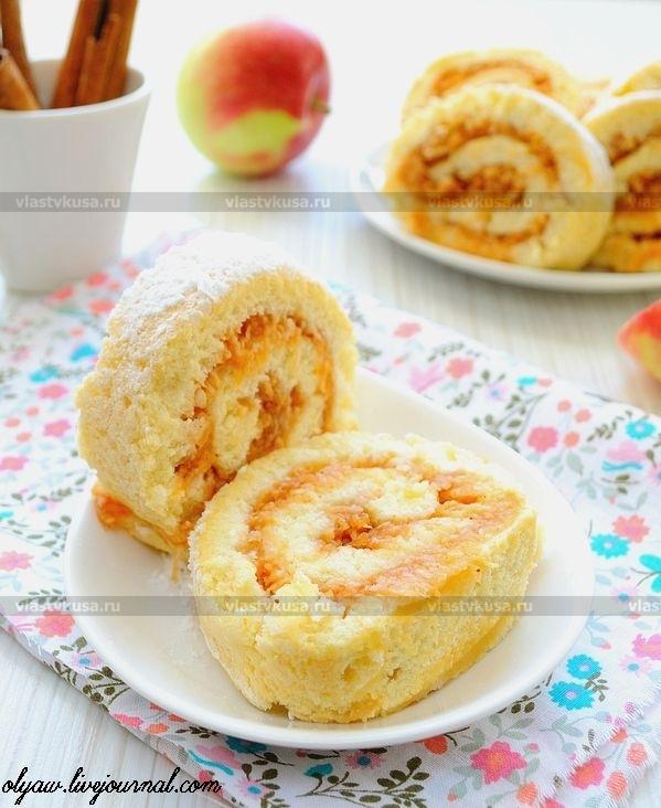 Бисквитный рулет с яблоком рецепт с фото